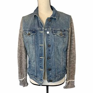 Two by Vince Camuto Denim Jacket Knit Sleeves Sm